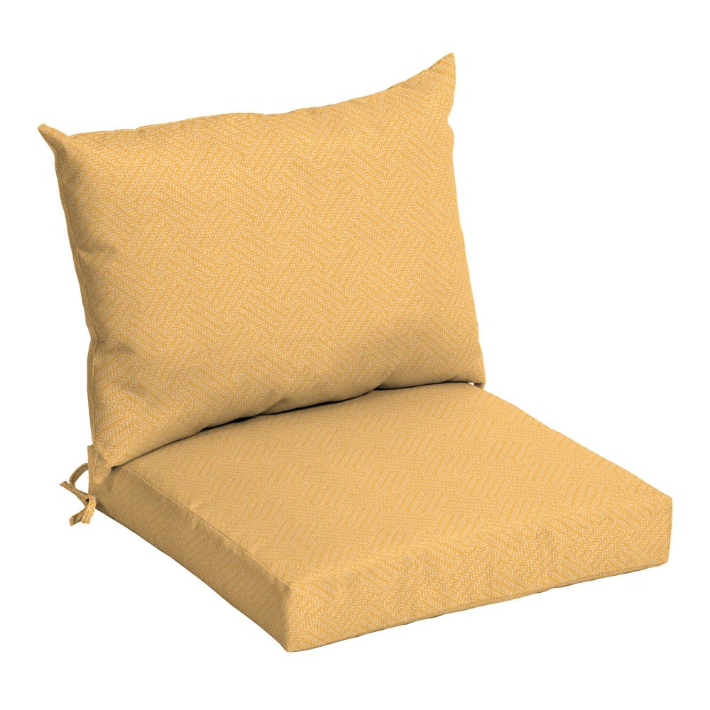 Arden Selections Outdoor Dining Chair Cushion Set Yellow Shirt Texture