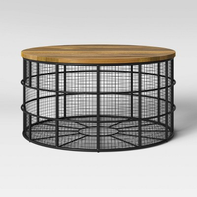 Hillsmere Wire Cage Coffee Table With Removable Wood Top Black - Threshold™
