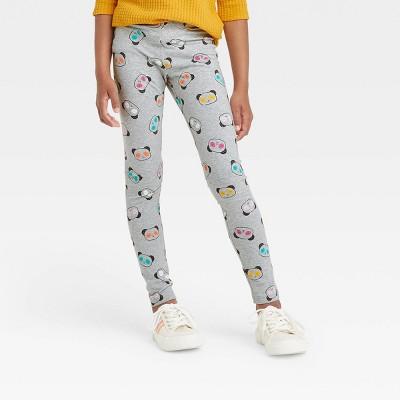 Girls' Panda Leggings - Cat & Jack™ Heather Gray