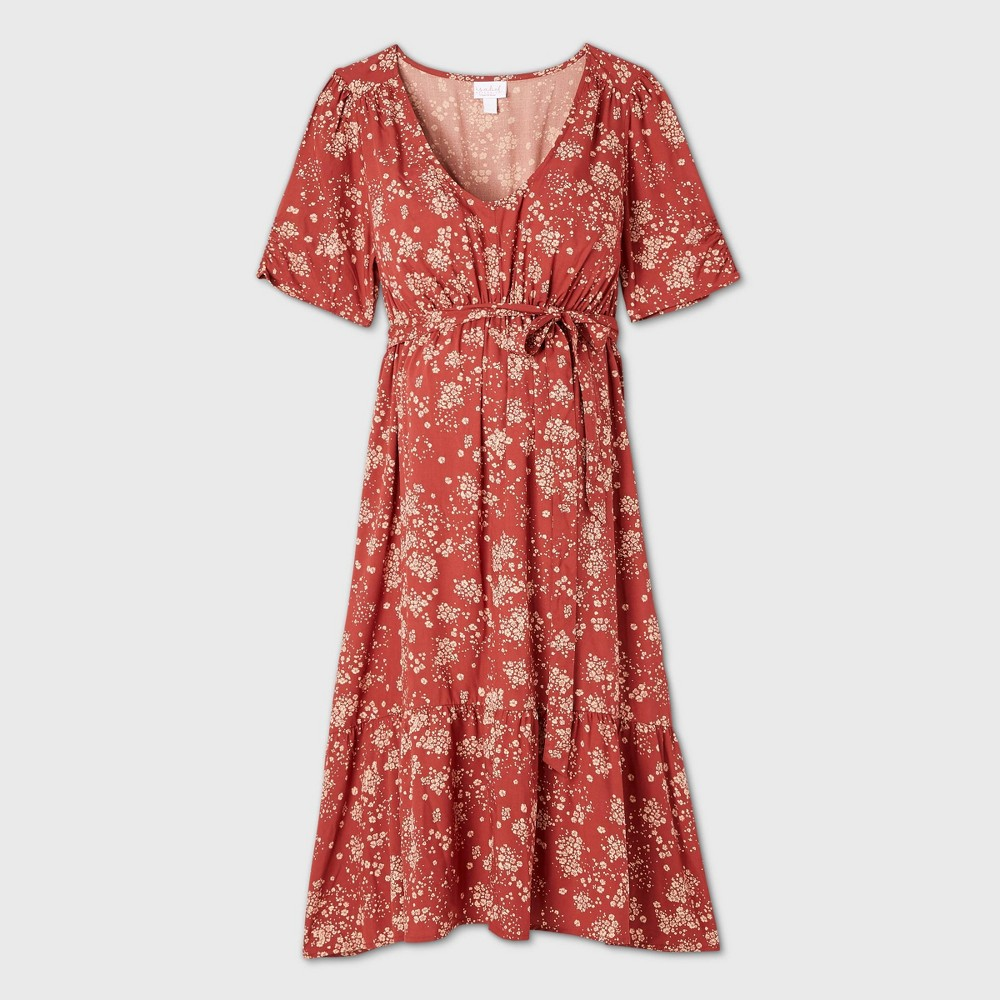 Vintage Maternity Clothes History Floral Print Elbow Sleeve Woven Tier Maternity Dress - Isabel Maternity by Ingrid  Isabel Red XXL $29.99 AT vintagedancer.com