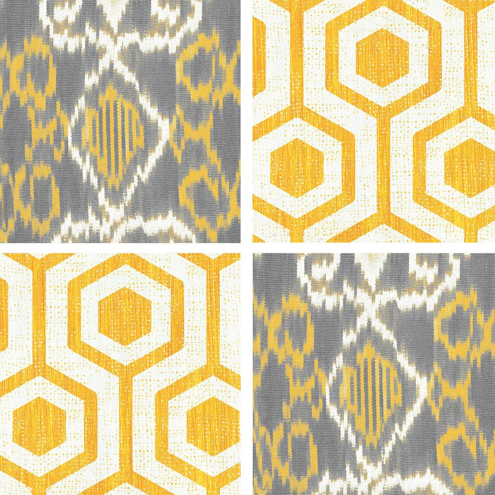 Image of Thirstystone Yellow Lattice & Ikat 4 Piece Occasions Coaster Set