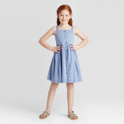Girls' Button-Front Chambray Dress - Cat & Jack™ Blue M