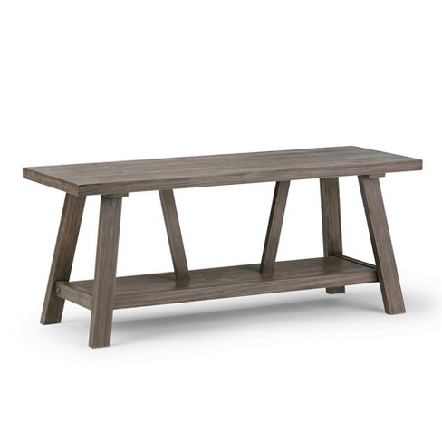 Dylan Entryway Bench - Driftwood Finish - Simpli Home - image 1 of 6