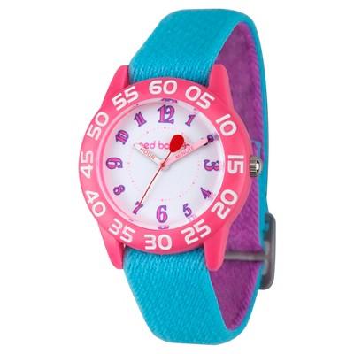 Girls' Red Balloon Pink Plastic Time Teacher Watch - Blue