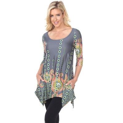 Women's 3/4 Sleeve Printed Rella Tunic Top with Pockets - White Mark