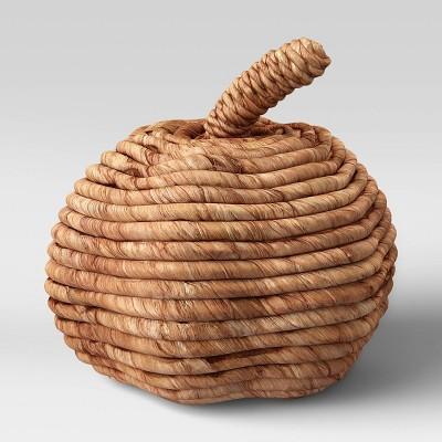 "7"" x 7.8"" Woven Corn Husk Pumpkin Figurine Brown - Threshold™"