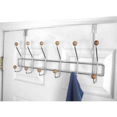 Home Basics Chrome Plated Steel Over the Door 6-Hook Hanging Rack