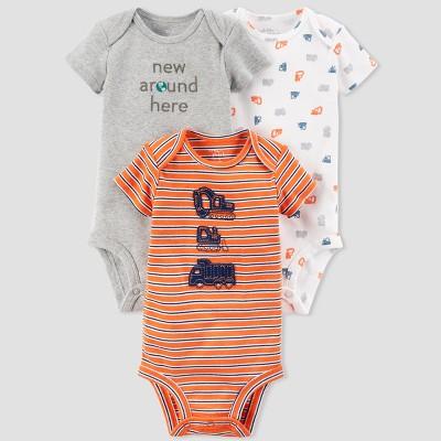 Baby Boys' 3pk Construction Bodysuit Set - little planet™ organic by carter's® Orange Stripe 18M