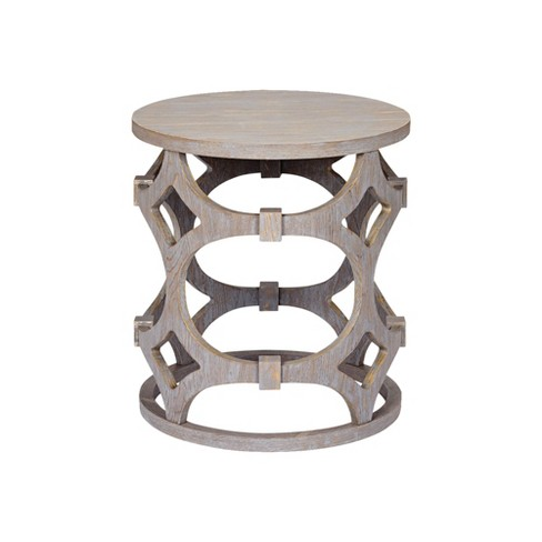 Armen Living Tuxedo Round End Table Gray - image 1 of 2