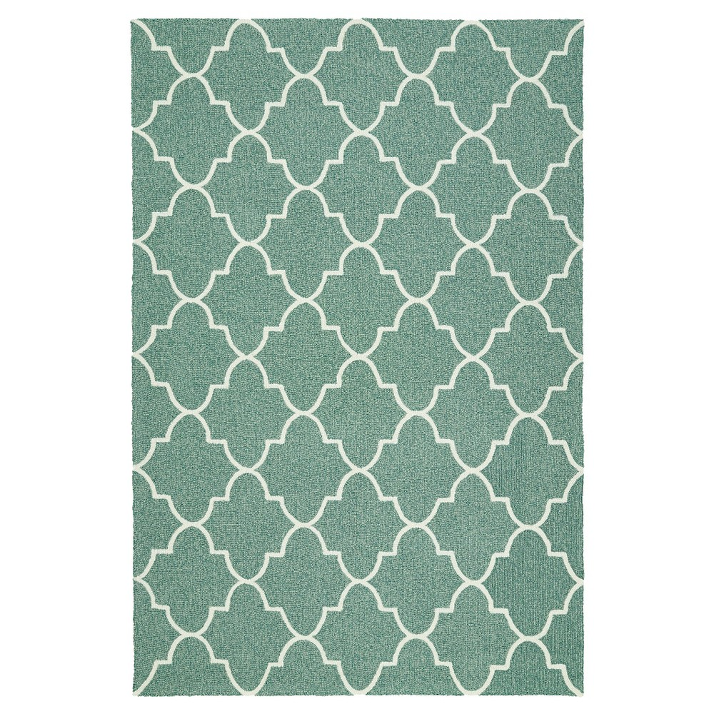 "Image of ""Rugs 5'X7'6"""" Kaleen Rugs Mint Strip, Green Strip"""