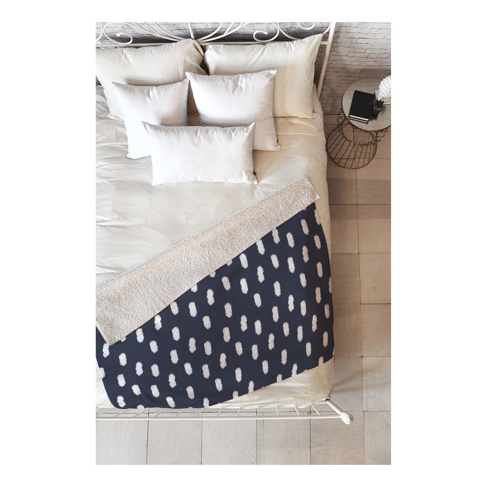 Best Shopping Navy Blue Polka Dots Throw Pillow 50X60 Deny Designs