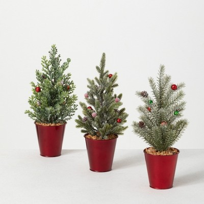 """Sullivans 1' Potted Pine Artificial Tree Set of 3, 12""""H Green"""