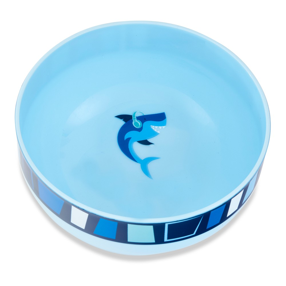 Image of Cheeky Plastic Kids Bowl 10oz Shark - Blue