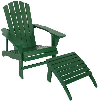 Sunnydaze Outdoor Classic Fir Wood Lounge Patio Adirondack Chair and Ottoman Footrest Set - Green - 2pc