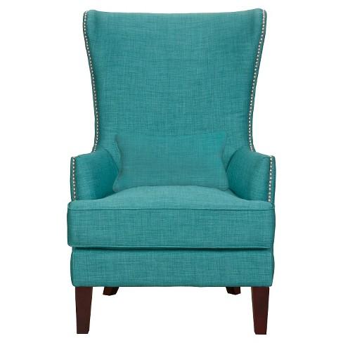 Karson High Back Upholstered Chair Teal, High Back Upholstered Chairs With Arms