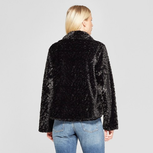 0282be8c2c09 Women s Long Sleeve Faux Fur Fuzzy Jacket - Xhilaration™ Black XXL   Target