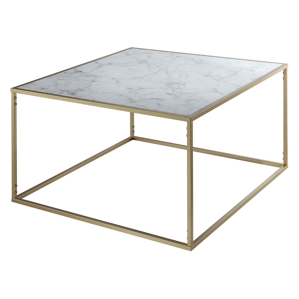Johar Furniture Gold Coast Faux Marble Coffee Table Gold
