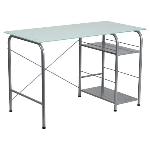 Glass Computer Desk with Open Storage - Silk White Glass Top/Silver Frame - Riverstone Furniture Collection - image 1 of 2