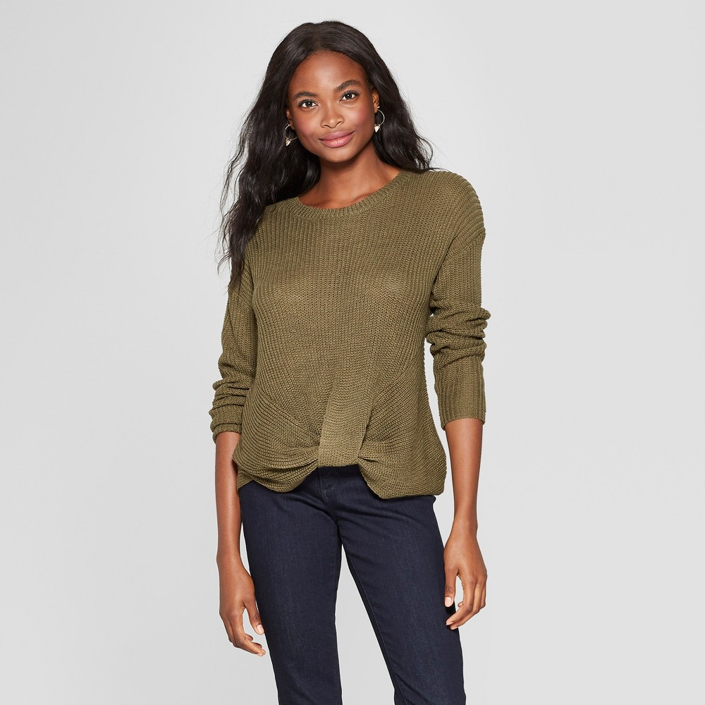 Women's Long Sleeve Twist Front Pullover Sweater - Xhilaration Olive (Green) Xxl