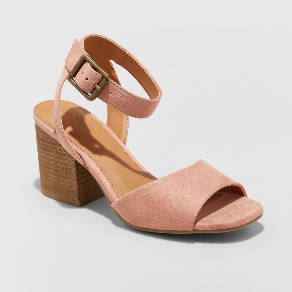 Women's Megan Microsuede Quarter Strap Heeled Pump Sandals - Universal Thread Blush 12