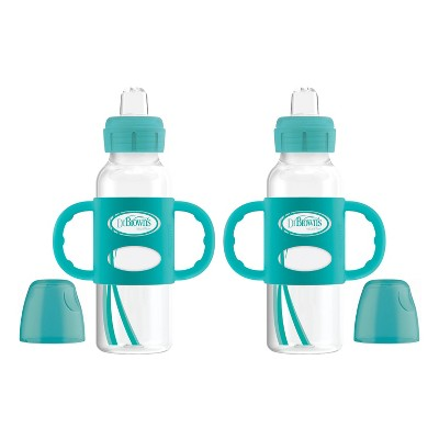 Dr. Brown's Narrow Neck Sippy Bottle with Handles - Turquoise - 2pk