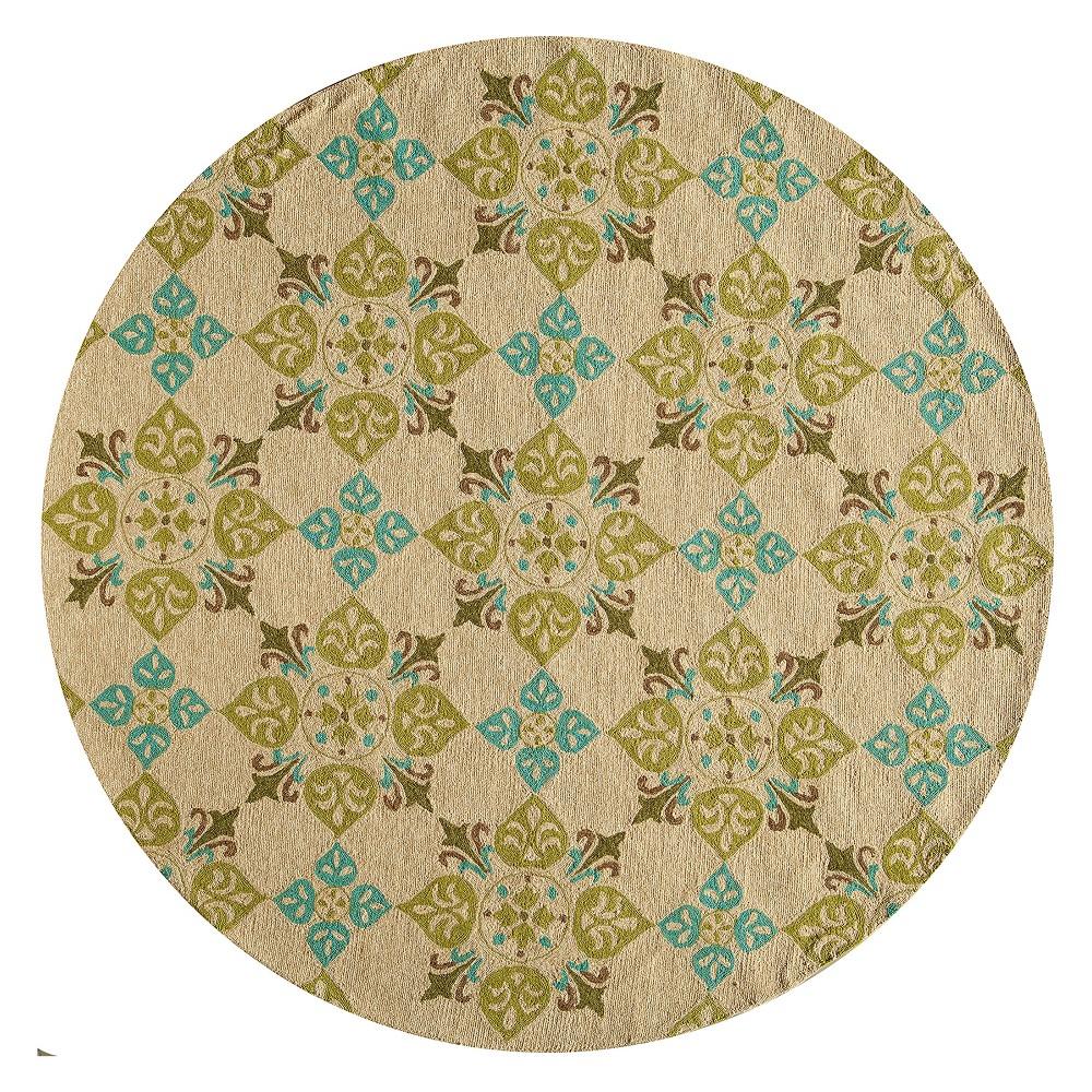 9'X9' Geometric Hooked Round Area Rug Beige - Momeni