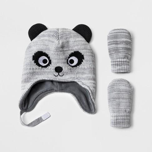 3929c14c554 Toddler Boys  Panda Hat And Mitten Set - Cat   Jack™ Gray   Target