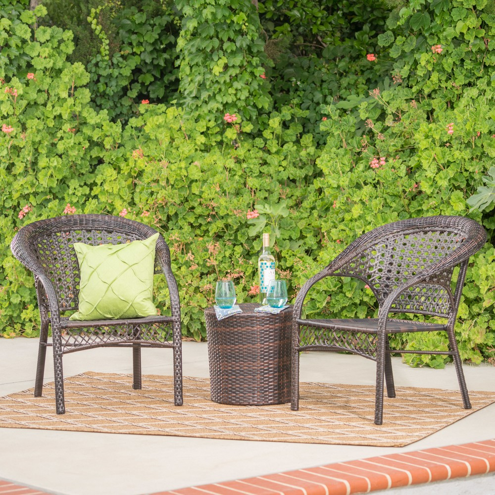 Hamburg 3pc Wicker Chat Set - Multibrown - Christopher Knight Home, Brown