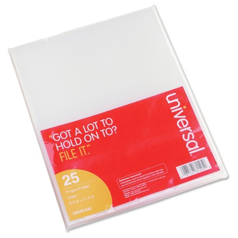 Universal® Project Folders, Jacket, Poly, Letter, Clear, 25/Pack - image 1 of 3