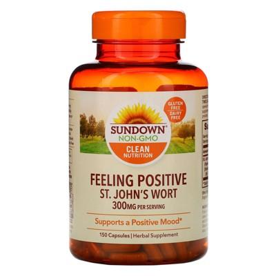 Sundown Naturals Feeling Positive, St. John's Wort, 300 mg, 150 Capsules, Herbal Supplements