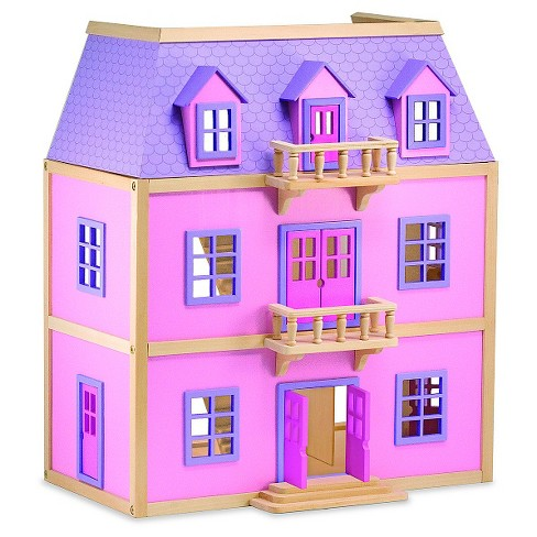 Melissa Doug Multi Level Wooden Dollhouse With 19pc Furniture