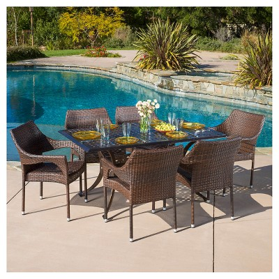 Cliff 7pc Cast Aluminum And Wicker Dining Set   Bronze/Brown   Christopher  Knight Home