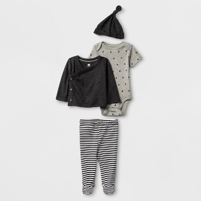 Baby 4pc Bodysuit Set - Cloud Island™ Gray 3-6M