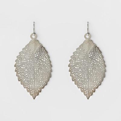 Women's Leaf Drop Earring - A New Day™ Silver