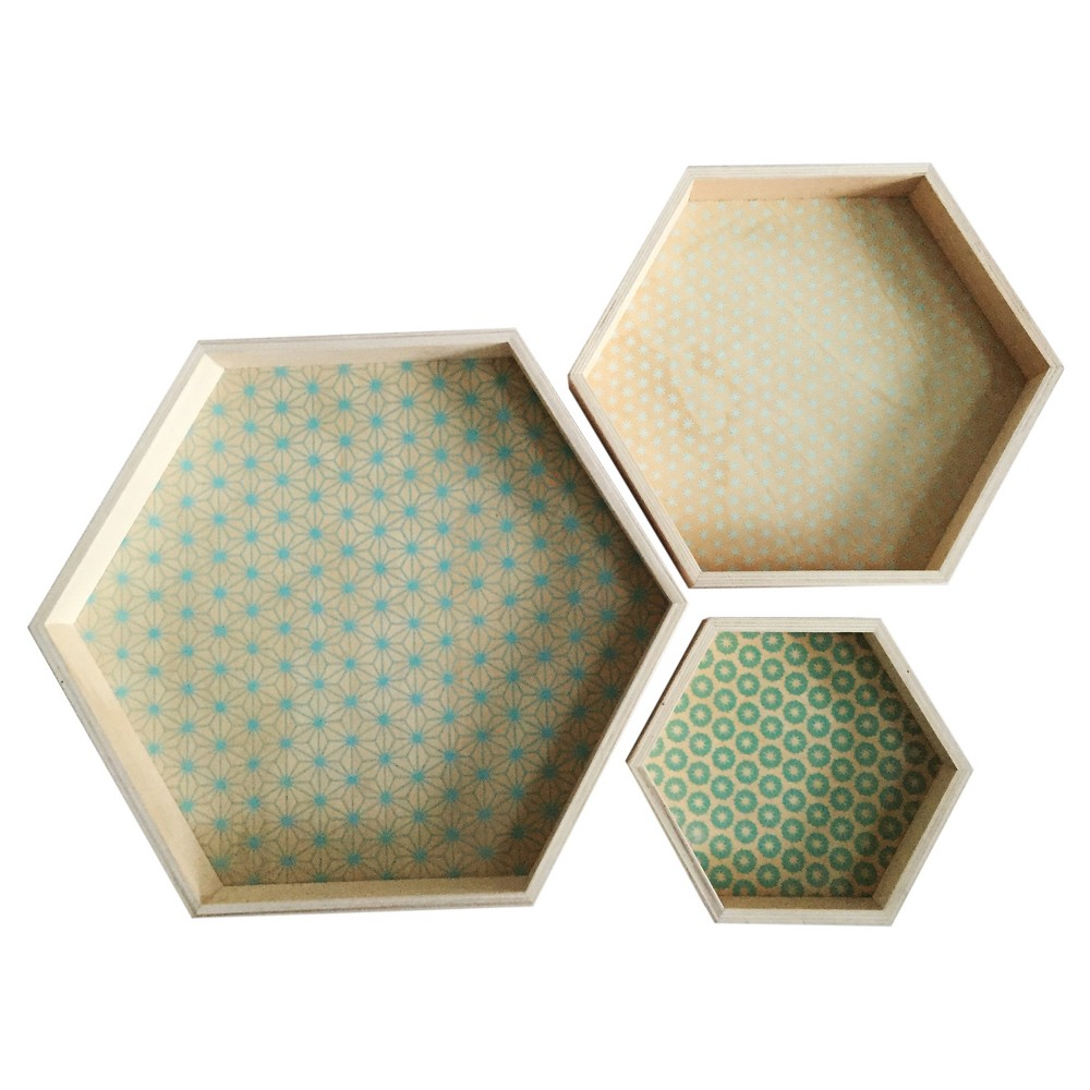 Home Port Set of 3 Cassandra Hexagon Trays, Multi-Colored