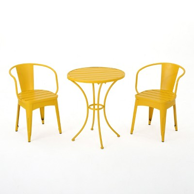 Colmar 3pc Cast Iron Patio Bistro Set- Matte Yellow - Christopher Knight Home