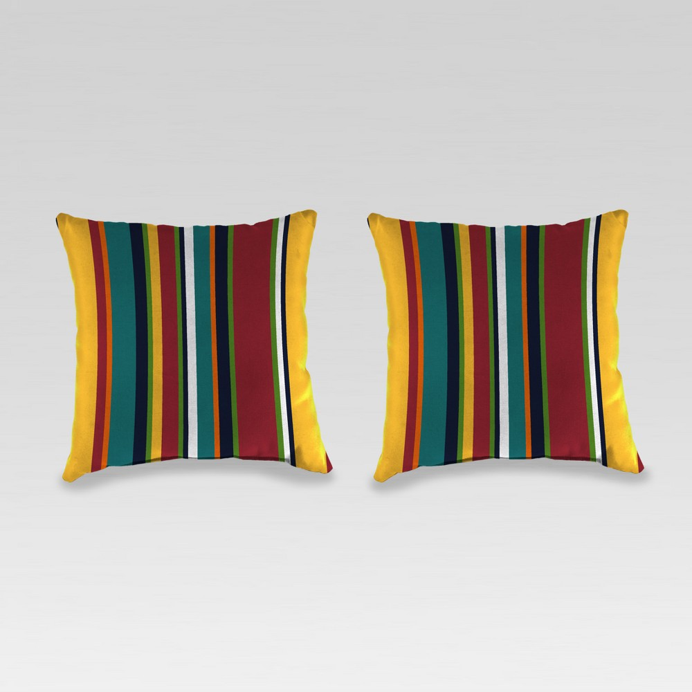 Outdoor Set of 2 Accessory Toss Pillows - Yellow/Red - Jordan Manufacturing