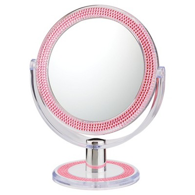 Double-Sided Free Standing Magnified Makeup Bathroom Mirror Pink Bling - Aptations