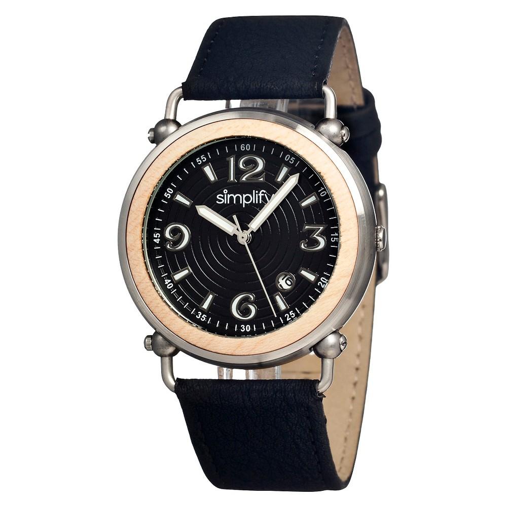 Women's Simplify the 1600 Watch with Wooden Bezel - Brown/Black