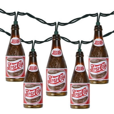 Northlight 10ct Vintage Pepsi Bottle Novelty Christmas Lights Brown - 12' White Wire