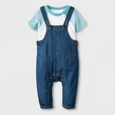 Baby Boys' 2pc Short Sleeve Bodysuit and Denim Overalls Set - Cat & Jack™ Blue/White 0-3M