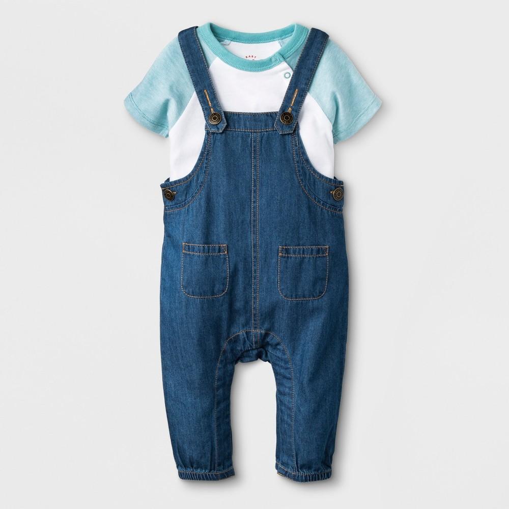 Baby Boys' 2pc Short Sleeve Bodysuit and Denim Overalls Set - Cat & Jack Blue/White 6-9M