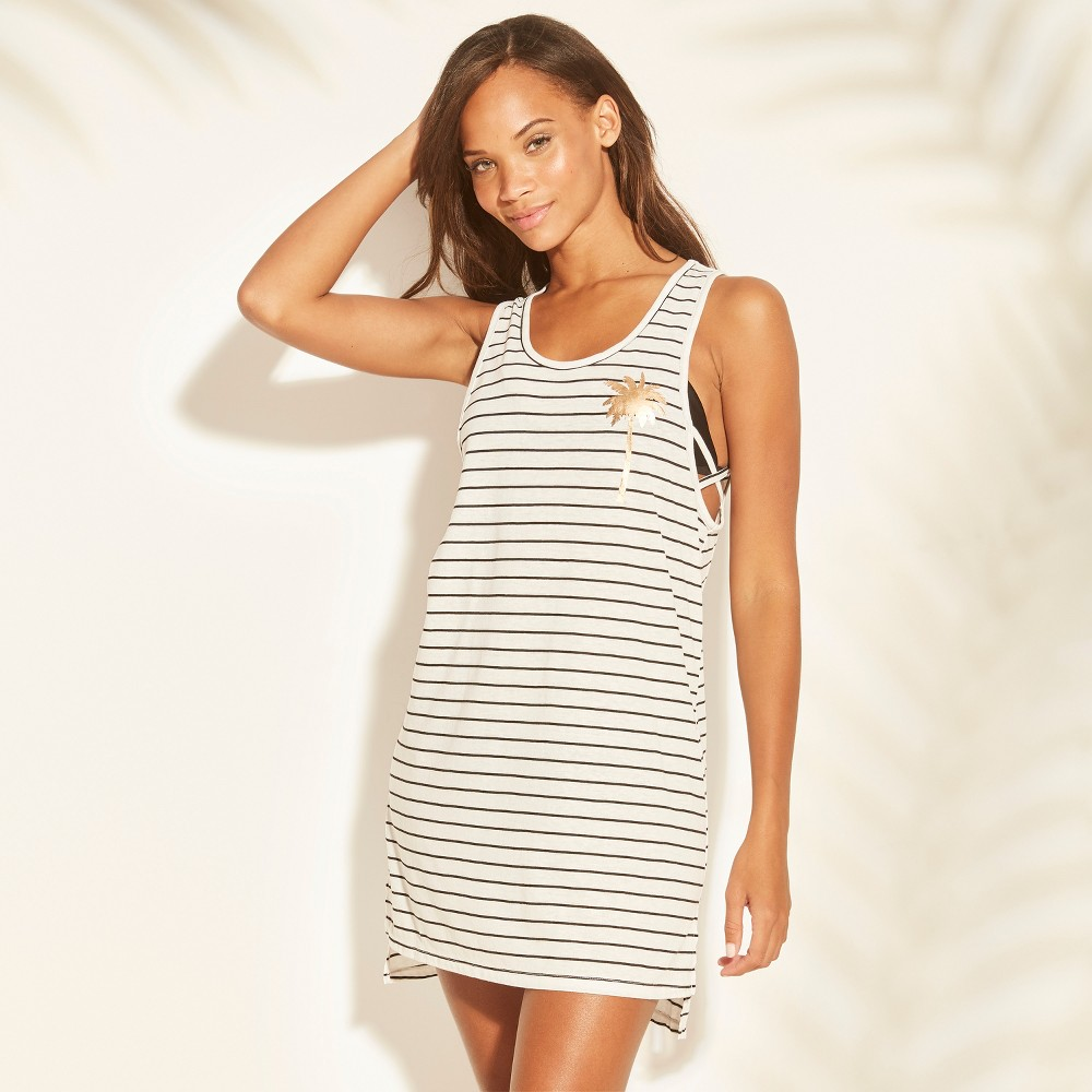 Women's Strappy Side Graphic Tank Cover Up - Xhilaration Black Stripe XL, Black White