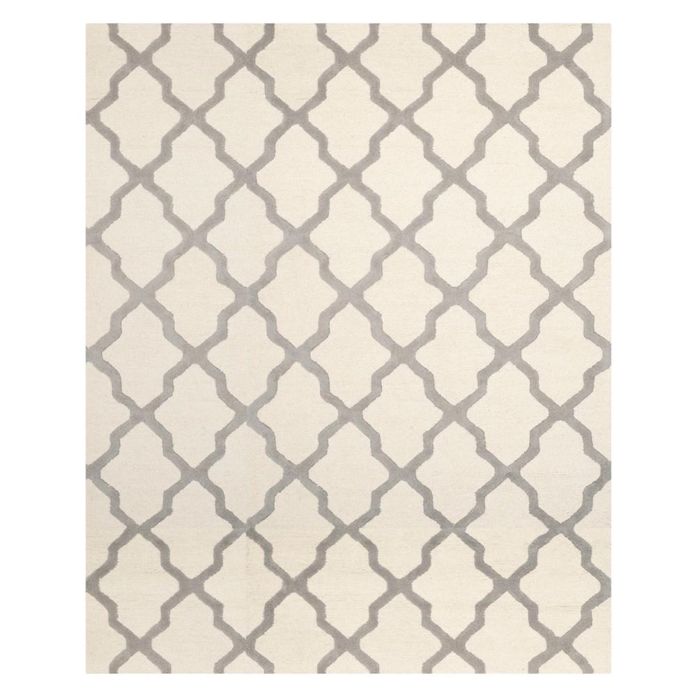 Quatrefoil Design Area Rug Ivory/Silver