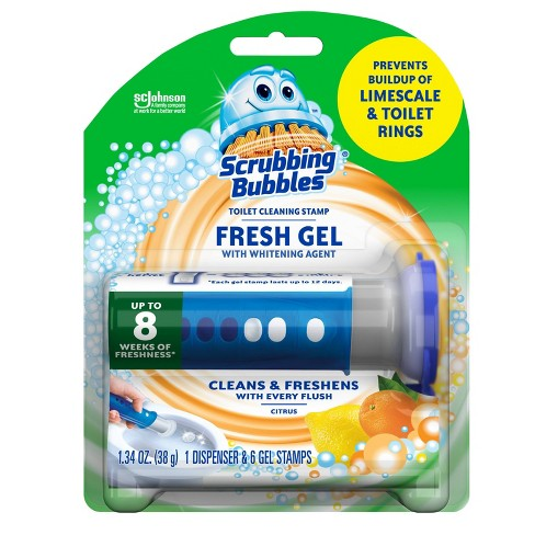 Scrubbing Bubbles Fresh Gel Toilet Cleaning Stamp Citrus Dispenser with 6 Stamps - image 1 of 4
