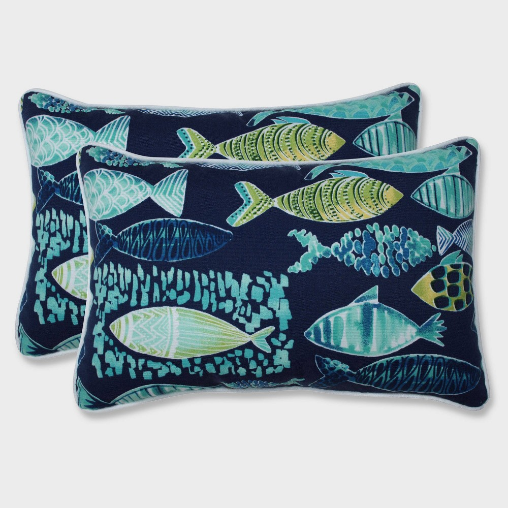 Image of 2pk Hooked Lagoon Rectangular Throw Pillows Blue - Pillow Perfect