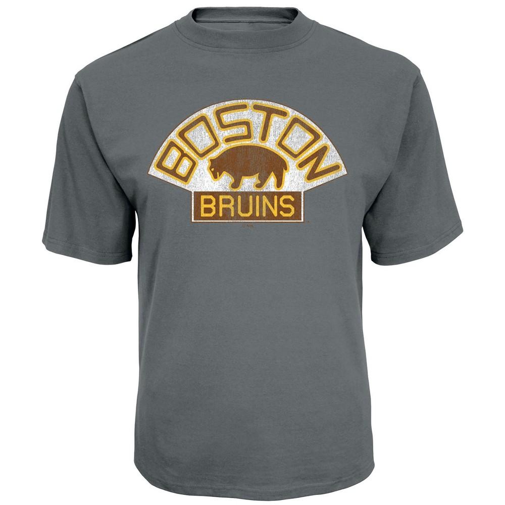 Boston Bruins Men's Back In Time Gray Vintage Logo T-Shirt L, Multicolored