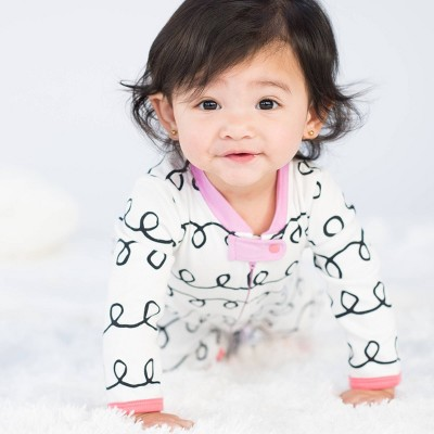 Lamaze Baby Girls' Organic Cotton Curly Stripe Print Zip Sleep 'N Play - White 3M