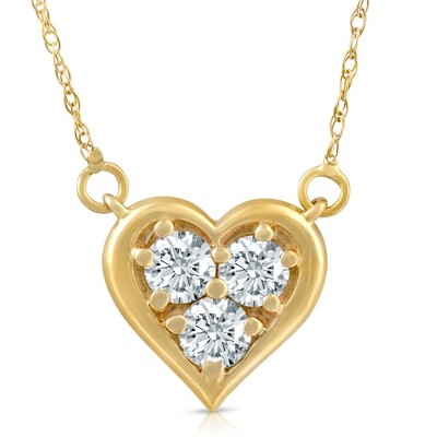 Pompeii3 1/2Ct Diamond Heart Pendant 14k White Yellow or Rose Gold Lab Created Necklace