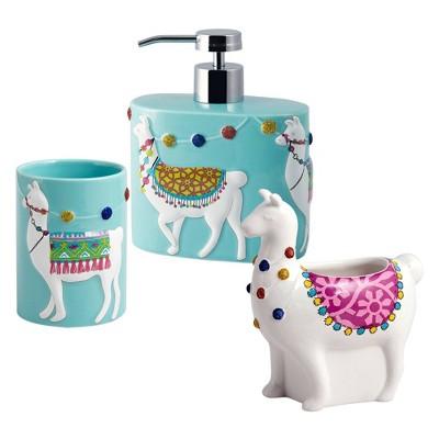 3pc Llamas Lotion Pump, Toothbrush Holder, Tumbler - Allure